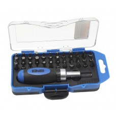 Multi-purpose reversible short screwdriver with bit set 36pcs, in a plastic case