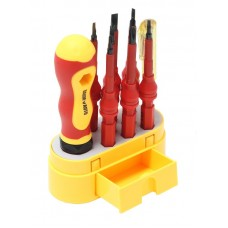 Insulated screwdriver with replaceable sockets 10pcs (PH0,PH2,SL3.0,SL6.0,Y1, T10,U2, trihedral 4.0