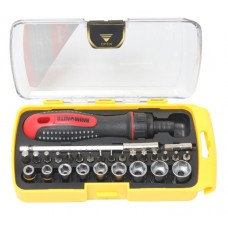 Multi-purpose reversible telescopic screwdriver with bit and socket set 28pcs, in a plastic case