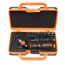 Multi-purpose reversible rotary scredrivers set with flexible extancions and bit and socket set for