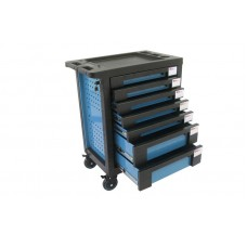 Service tool cabinet with tools 7 drawers (blue) with plastic housing protection +2 side perforation