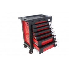 Service tool cabinet with tools 7 drawers (red) with plastic housing protection +2 side perforation,