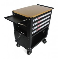 Service tool cabinet with tools 4 drawers (black) with wooden table-top + 2 side perforation and tra