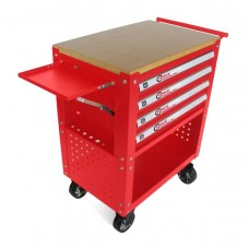 Service tool cabinet with tools 4 drawers (red) with wooden table-top + 2 side perforation and tray,