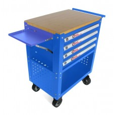 Service tool cabinet with tools 4 drawers (blue) with wooden table-top + 2 side perforation and tray