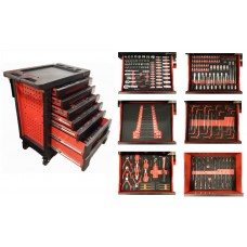 Service tool cabinet with tools Cr-V 248pcs (red) with plastic housing protection + 2 side perforati