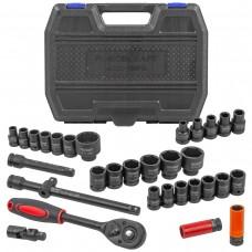 Air impact socket set 32pcs 1/2'', 6 point (10-32mm, Cr-Mo)