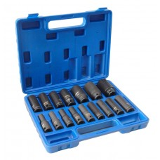 Deep impact socket set, 16pcs, 1/2''(10-19, 21, 22, 24, 27, 30, 32mm), in a case