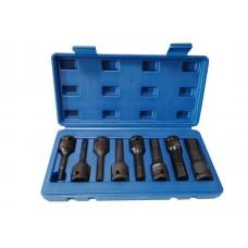 Impact socket bit set 6 point, 8pcs,1/2''(H5, H6, H8, H10, H12, H14, H17, H19), in a case