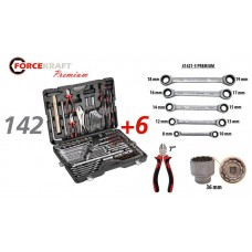 Tool set 142 + 6pcs ( 1/4''3/8''1/2'', 6 point) (4-3mm, 27,30,32,36-12 point)+ratchet wrench 8х10,12х
