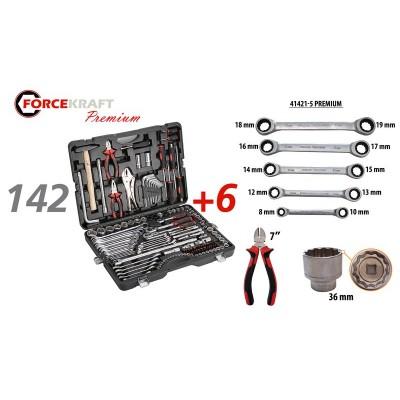 Tool set 142 + 6pcs ( 1/4''3/8''1/2'', 6 point) (4-3mm, 27,30,32,36-12 point)+ratchet wrench 8х10,12х