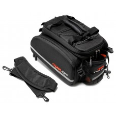 Bicycle trunk bag (3 compartments, 2 pockets + possibility of volume increasing)