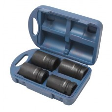 Impact deep flank socket set 4pcs, 1'', 6 point (27, 32, 33, 36), in plastic case
