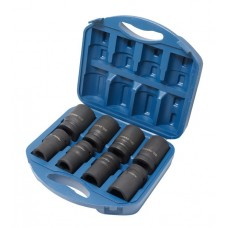 Impact deep flank socket set 8pcs, 1'', 6 point (22, 24, 27, 30, 32, 36, 38, 41), in plastic case