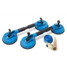 Suction cup lifter set 60kg 3pcs (double suction cup lifter - 2pcs, load brace rod with a ratchet)
