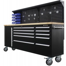 Mobile metal workbench 485х1480х2130mm (perforation: 530x2130mm, wooden table top: 40x485x2130mm, si