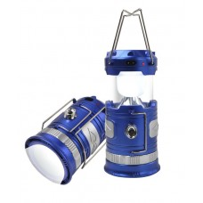 Multifunctional solar rechargeable retractable camping lantern (blue), (1 LED+6 LED, charge 220V + s