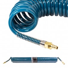 PU recoil hose 10mm х 14mm х 15m with fittings (brass, max pressure - 15bar, working temperature fro