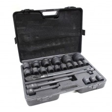 Air impact socket set 23pcs 3/4'', 6 point (sockets: 17, 19, 21, 22, 24, 27, 30, 32-36, 38, 41, 46, 5