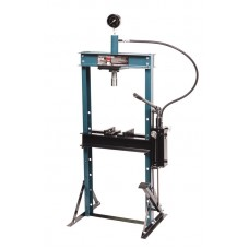 Shop press with pressure gauge 12T, arm/foot drive (operating height: 0-900mm, operating width:475mm