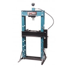 Shop press with pressure gauge 30T, arm/foot drive (operating height: 0-975mm, operating width:520mm