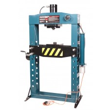 Shop press with pressure gauge 75T, arm/air drive (operating height: 0-1100mm, operating width: 800m