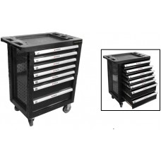 Service tool cabinet with tools 7 drawers (black) with plastic housing protection +2 side perforatio