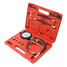Fuel injector pressure test kit with adaptors 10pcs (0-7Bar), in a case