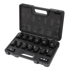 Impact socket set 15pcs 1/2'', 6 point (10,12-19,21,22,24,27,30,32mm), in a case
