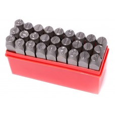 Letter punch stamp set 3mm, 27pcs, in a plastic case