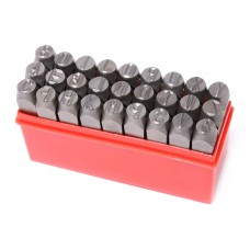 Letter punch stamp set 6mm, 27pcs, in a plastic case