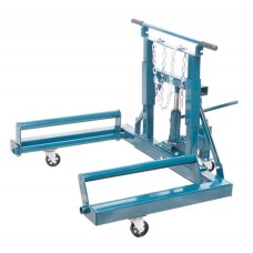Hydraulic wheel trolley for removal of wheels and brake drums on aircrafts 1T