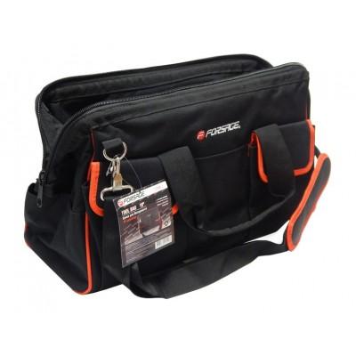 Closed MAXI tool bag (500x250x320 mm, 16 pockets, fabric handle + shoulder strap)