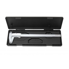 Stainless steel vernier caliper (0-125mm, 0.02mm, inner Ø, outer Ø + depth gauge), in a plastic case