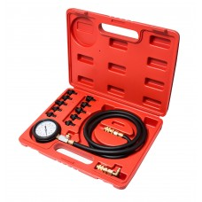 Engine oil pressure tester kit with threaded adapters 12pcs (0-10Bar), in a case