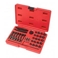 Glow plug thread repair kit 33pcs (m8х1, m10х1, m10х1.25, m12х1.25), in a case