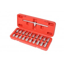 Drain sump plug key socket set 21pcs 3/8''(square: 7, 8, 10 - 14mm, 5/16'', 3/8'', T45, M16, Н:8, 9, 10
