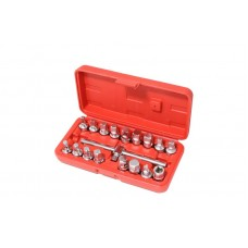 Drain sump plug key socket set 18pcs 3/8''(square: 7, 8, 10 - 14mm, 5/16'', 3/8'', Н:8,9,10,12,14,17mm