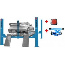Four post lift electrohydraulic long base carrying capacity 5T with cross arm and slewing circles (3