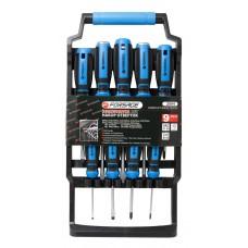 Magnetic screwdrivers set 9pcs (SL8х150, 6х150, 5х75, 3х75mm, PH2х100, 1х75, 0х75mm go-through SL6х1