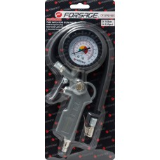 Gun for tire inflating with analogue pressure gauge and hose (0-16Bar), in blister