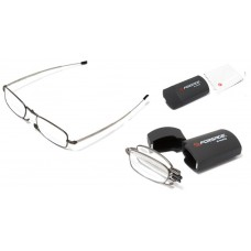 Compact glasses (+2.50, metallic frame), in a plastic case