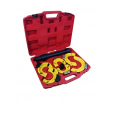 Coil spring clamp with three pairs of grips and plastic pads 7pcs (operating range 80-317mm, grip Ø: