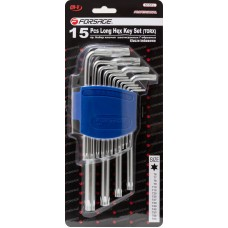 L-type long Torx-wrenches set 15pcs (T6, T7, T8, T9, T10, T15, T20, T25, T27, T30, T40, T45, T50, T5