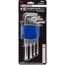 L-type long Torx-wrenches set 15pcs (T6Н, T7H, T8H, T9H, T10Н, T15Н, T20Н, T25Н, T27Н, T30Н, T40Н, T