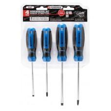Magnetic screwdrivers set, 4pcs CrV6150 (SL:5x100mm, 6х125mm, PH1х100mm, PH2х125mm), in blister