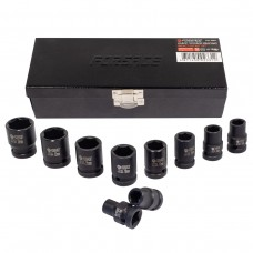 Impact socket set 6 point, 10pcs, 1/2''(10,12,13,14,15,17,19,21,22,24), in a metal case
