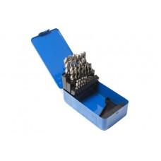 Metal drill bit set HSS 4241,25pcs (1-13mm, step 0.5mm), in a metal case