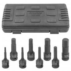 Impact socket bit set 8pcs, 1/2''(H5-H19), in a case