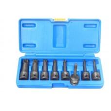 Impact Torx socket bit set 8pcs 1/2''(T30-T80), in a case